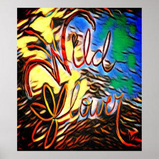 Wildblume-Weltelement-Tierdruck-Plakat