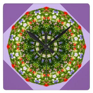 Wildblumen-Natur, Blume-Mandala 002 Quadratische Wanduhr