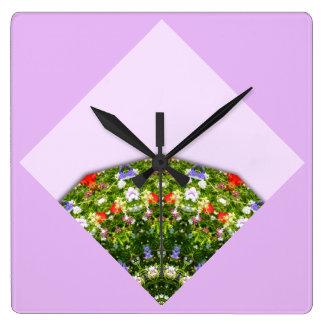 Wildblumen-Natur, Blume-Mandala 003 Quadratische Wanduhr