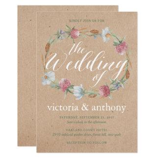 WildblumeWreath auf Kraftpapier-Land-Hochzeit Karte