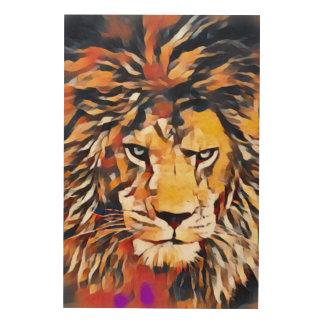 Wilde afrikanische Löwecubist-Tier-Malerei Holzwanddeko