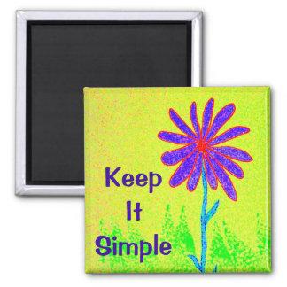 Wilde Blume behalten es einfach Quadratischer Magnet