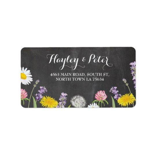 Wilde Blumen-elegante Kreide-Adressen-Etiketten Adressetikett