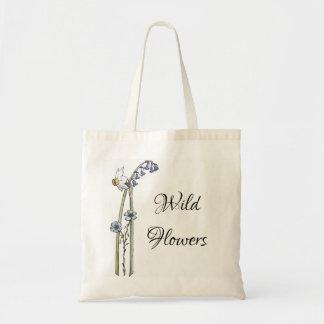 Wilde Blumen handgemalt Tragetasche