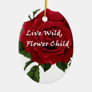 Wilde Blumen-KinderlebhaftRose Ovales Keramik Ornament