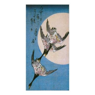 Wilde Gänse, die abwärts über Mond, Hiroshige Poster