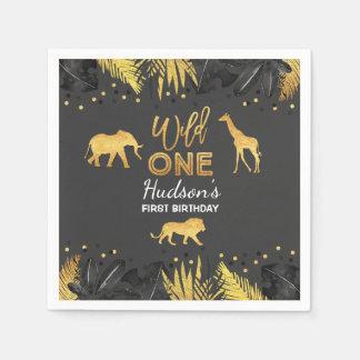 Wilde Geburtstags-Dschungel-Tier-Serviette Papierserviette