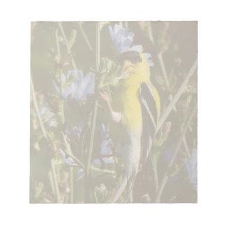 Wilde Goldfinch-Fink-Vogel-Tier-Tier-Blumen Notizblock