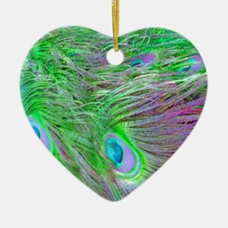Wilde grüne Pfau-Federn Keramik Herz-Ornament