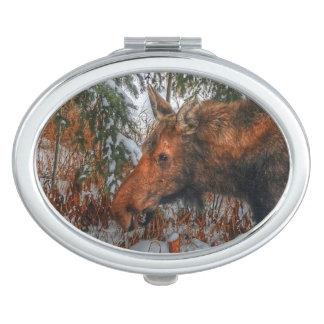 Wilde kanadische Elch-Kuh u. Winter-Wald III Schminkspiegel