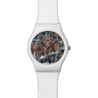 Wilde kanadische Elche im Winter-Wald Uhr