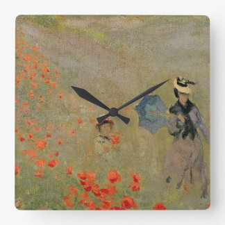 Wilde Mohnblumen Claude Monets |, nahe Argenteuil Quadratische Wanduhr