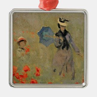Wilde Mohnblumen Claude Monets |, nahe Argenteuil Quadratisches Silberfarbenes Ornament