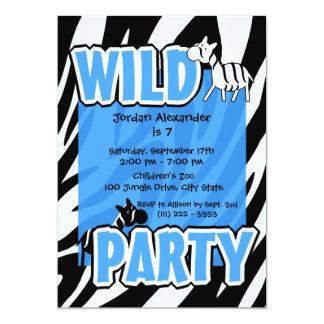 Wilde Partei-BlauZebra 12,7 X 17,8 Cm Einladungskarte