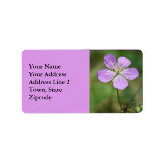 Wilde Pelargonie-Rosa-Wildblume-Adressen-Etiketten Adressaufkleber
