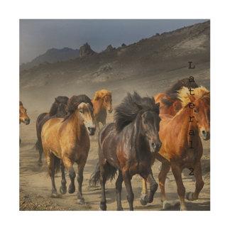 Wilde Pferde Holzwanddeko