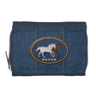 Wilde Pferdedenim-Geldbörse