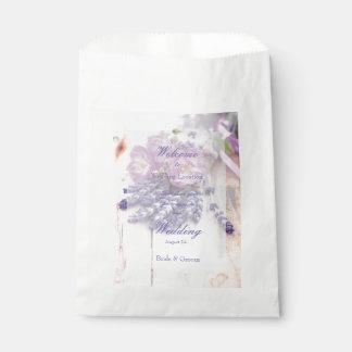 Wilde Rosen-u. Lavendel-Sommer-Blumen-Hochzeit Geschenktütchen