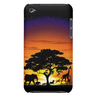 Wilde Tiere auf Savanne-Sonnenuntergangipod-Touchf iPod Case-Mate Hülle