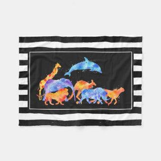 Wilde Tiere, die zusammen buntes Aquarell laufen Fleecedecke