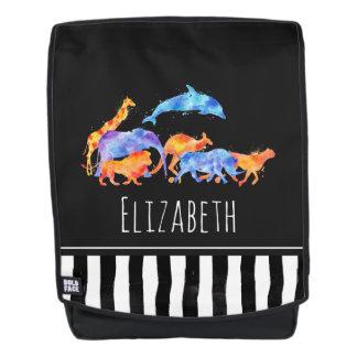 Wilde Tiere, die zusammen buntes Aquarell laufen Rucksack