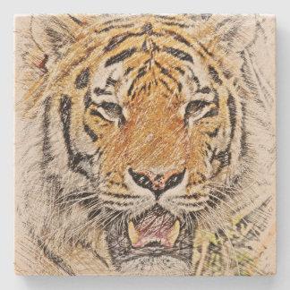 Wilde Tiger-Skizze Steinuntersetzer
