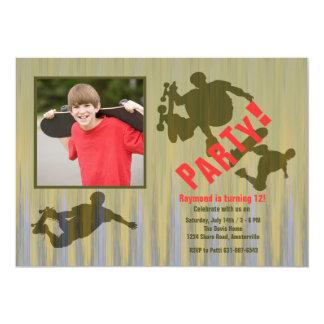 Wilde Trick-Fotoskateboard-Einladung 12,7 X 17,8 Cm Einladungskarte