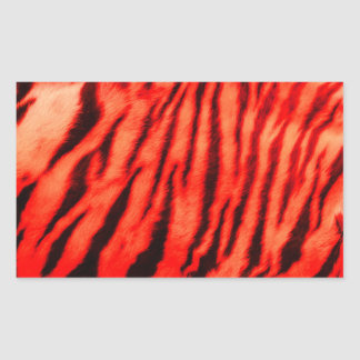 Wilde u. vibrierende rote Tiger-Streifen Rechteckiger Aufkleber
