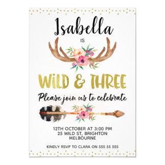 Wilde und drei Geweih-3. Geburtstags-Einladung Karte