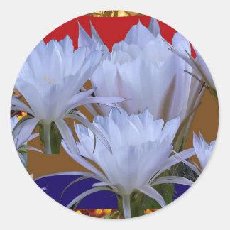 Wilde weiße Lilly Blume:  Fantastische Welt der Runder Aufkleber