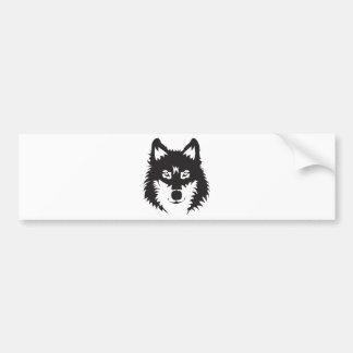 Wilde Wolf-Gesichts-Silhouette Autoaufkleber