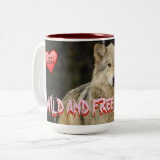 Wilde Wölfe - und geben Sie wie ich frei - groß Zweifarbige Tasse