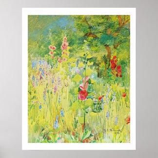 Wilder Blumeund HollyhocksWatercolor durch Poster