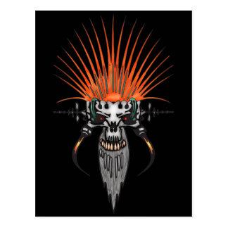 Wilder Cyber-Schädel mit den Stoßzähnen Postkarte