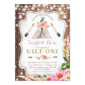 Wilder Geburtstags-Einladung BlumenBoho Teepee Karte