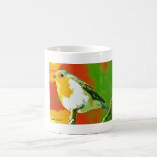 Wilder gelber weißer grüner Robin-Vogel auf Verwandlungstasse