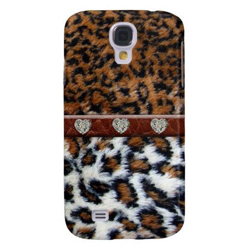 Wilder Leopard-Pelz mit Diamanten iPhone 3 Fall Galaxy S4 Hülle