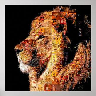 Wilder Löwe - Löwecollage - Löwemosaik - Löwe wild Poster