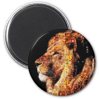 Wilder Löwe - Löwecollage - Löwemosaik - Löwe wild Runder Magnet 5,7 Cm