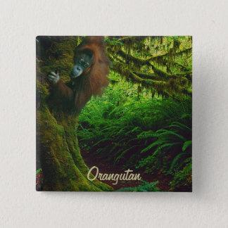 Wilder Orang-Utan u. Dschungel-Primat-Kunst-Knopf Quadratischer Button 5,1 Cm