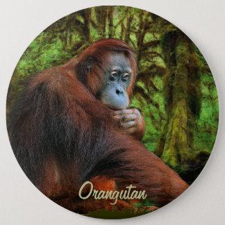 Wilder Orang-Utan u. Dschungel-Primat-Kunst-Knopf Runder Button 15,3 Cm