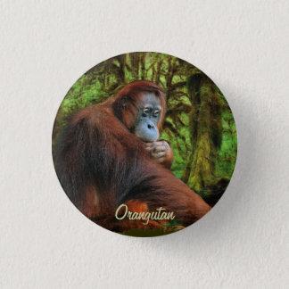 Wilder Orang-Utan u. Dschungel-Primat-Kunst-Knopf Runder Button 2,5 Cm