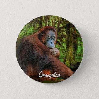 Wilder Orang-Utan u. Dschungel-Primat-Kunst-Knopf Runder Button 5,7 Cm