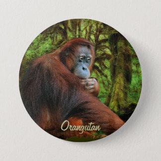 Wilder Orang-Utan u. Dschungel-Primat-Kunst-Knopf Runder Button 7,6 Cm