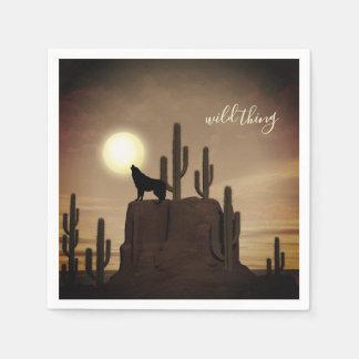 wilder Sache ~ Vollmond-Wolf-Heulenwüsten-Kaktus Serviette
