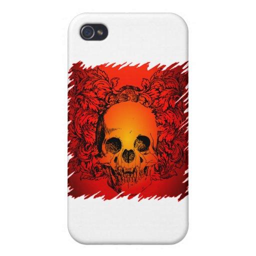Wilder schauender Tätowierungs-Schädel iPhone 4 Etui