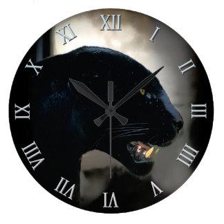 Wilder schwarzer Panther Tier-Liebhaber Große Wanduhr