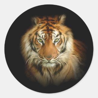 Wilder Tiger-runde Aufkleber