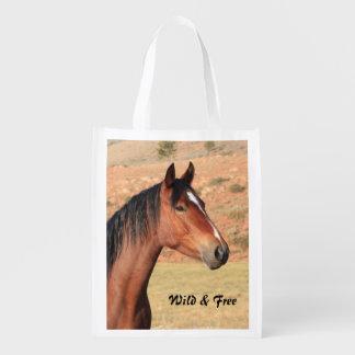 Wilder und freier Mustang Wiederverwendbare Einkaufstasche