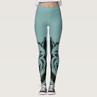 Wilder Wolf-Druck-blaue Frauen Legging Leggings